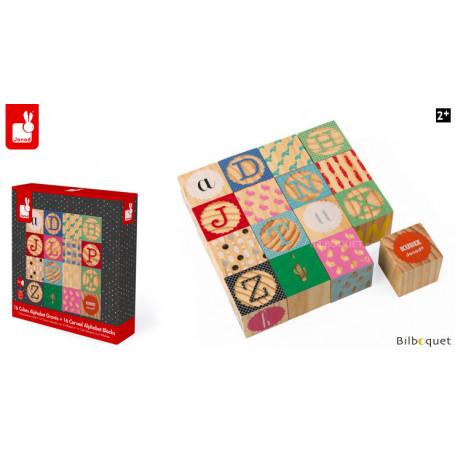 Kubix 16 Cubes Alphabet Gravés - Janod