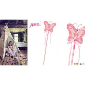 Baguette magique papillon Lucine - rose - Accessoire fille