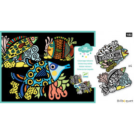 Coloriage Velours - Jolis poissons - Petits Cadeaux