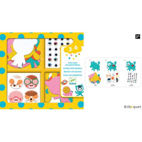 Créer avec des gommettes - J'aime les animaux - Design By Djeco