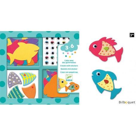 Créer avec des gommettes - J'aime les poissons - Design By Djeco