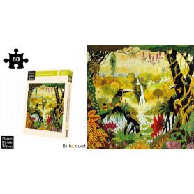 Toucan à la cascade - Thomas - Puzzle d'art en bois 80 pièces