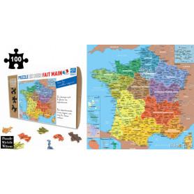 Carte de France des Départements - Puzzle en bois 100 pièces