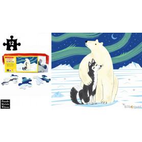 L'ours et le Husky - Olivier Lake - Puzzle en bois 12 pièces