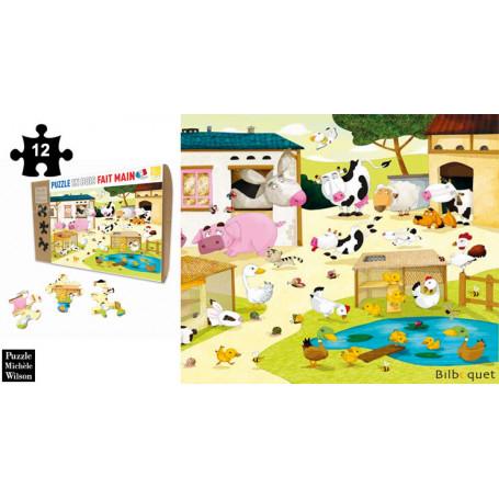 La Ferme - Olivier Huette - Puzzle en bois 12 pièces