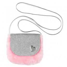 Sac à main Noella - coeur argent fourrure rose - Accessoire fille