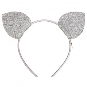 Ear muffs Micio - silver cat ears - Accessory for girl