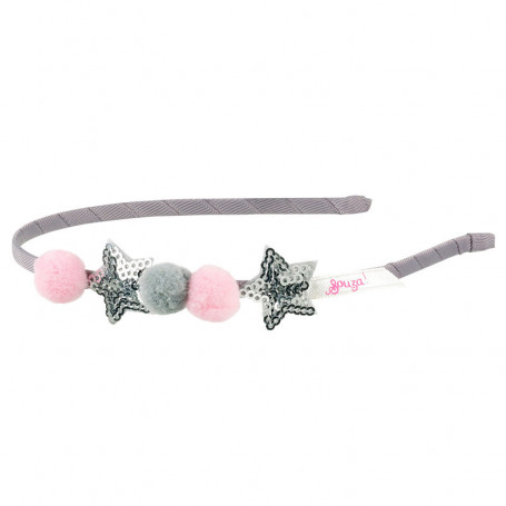 Ear muffs Kristina - pompoms and stars - Accessory for girl