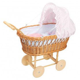 Doll wicker pram for doll up to 40cm