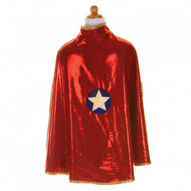 Cape réversible super-héroïne rouge et or - Déguisement fille