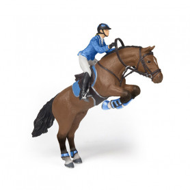 Jumping horse with riding girl - Papo Figurine