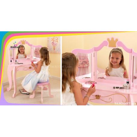 Coiffeuse et tabouret Princesse rose