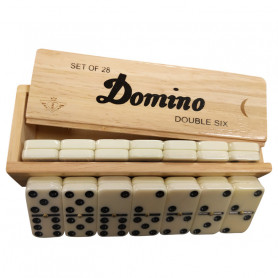 Set of 28 Dominoes - Box of rubberwood
