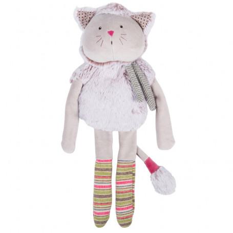 Poupée doudou chat gris