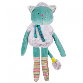 Poupée doudou chat bleu