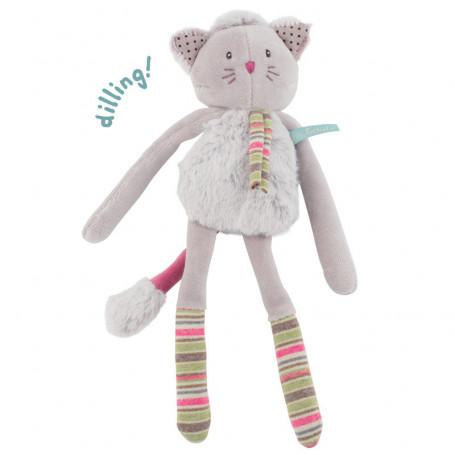 Doudou-hochet chat gris