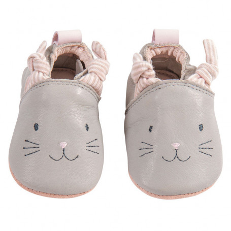 Grey leather slippers - Les petits dodos