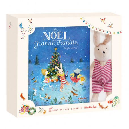 Coffret de Noël avec un livre et Sylvain le lapin