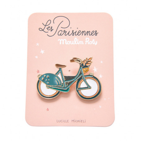 Enamelled pin brooch - Bicycle