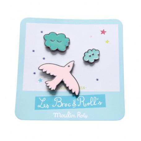 Set de 3 pin's laqués - Oiseau