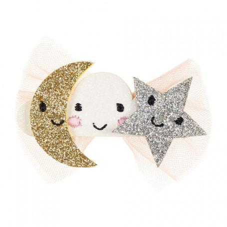 Pince à cheveux Clara, lune et étoile - Accessoire pour les filles