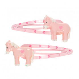 Cira Hair Clips, pink pony - Accessory for girls