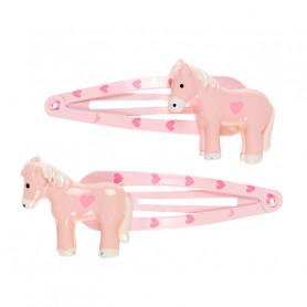 Pinces à cheveux Cira, poney rose - Accessoire pour les filles