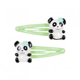 Green Panda Hair Clips - Accessory for girls