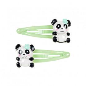 Pinces à cheveux panda vert - Accessoire pour les filles