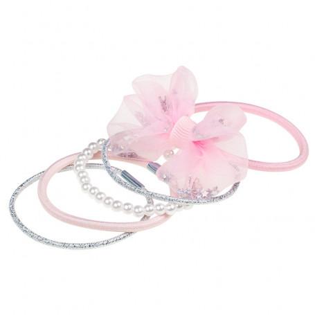 Élastique pour cheveux Phylis, ensemble rose - Accessoire pour les filles