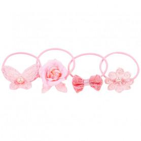Élastique pour cheveux Laury, ensemble rose - Accessoire pour les filles