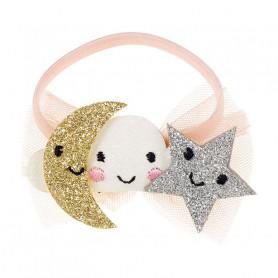 Élastique pour cheveux Clara, lune et étoile - Accessoire pour les filles