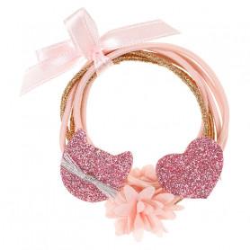 Élastique pour cheveux Malina rose, coeur et chat - Accessoire pour les filles