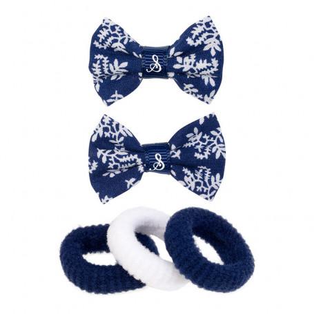 Ensemble élastiques et pinces à cheveux bleus - Accessoire pour les filles