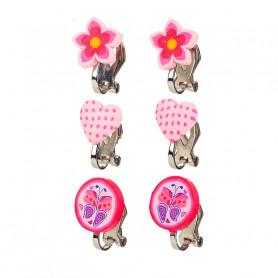 Boucles d'oreilles à clip, ensemble rose, 3 paires - Accessoire pour les filles