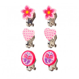 Ear clips, set pink, 3 pairs -  Accessory for girls