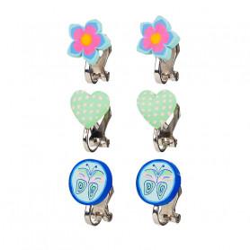 Boucles d'oreilles à clip, ensemble bleu, 3 paires - Accessoire pour les filles
