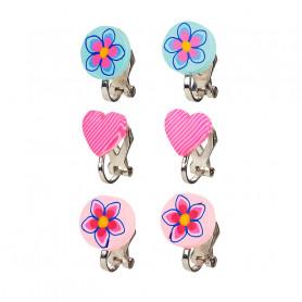 Boucles d'oreilles à clip, ensemble bleu-rose, 3 paires - Accessoire pour les filles