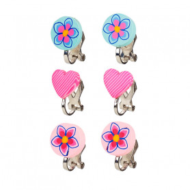 Ear clips, set blue pink, 3 pairs - Accessory for girls