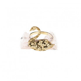 Rosa Adjustable ring, gold swan - Accessory for girls