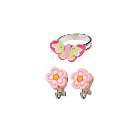 Darlene ring and Ear clips set, butterfly and flowers - Accessory for girls