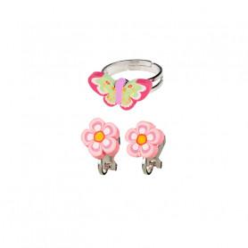 Ensemble bague et boucles d'oreilles Darlene, papillon et fleurs - Accessoire pour les filles