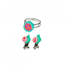 Darlene ring and Ear clips set, flower and snails - Accessory for girls
