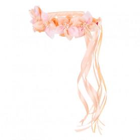 Couronne de fleurs Evaline, saumon - Accessoire pour les filles