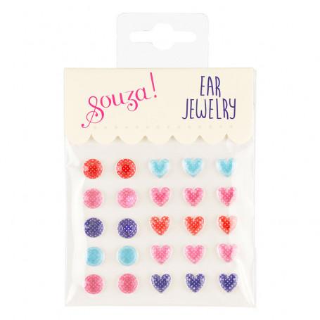 Stickers d'oreilles, pois et coeurs - Accessoire pour les filles