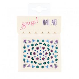 Stickers pour les ongles, fleurs et papillons bleus - Accessoire pour les filles