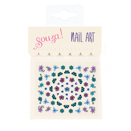 Nail stickers, blue flowers and butterflies - Accessory for girls
