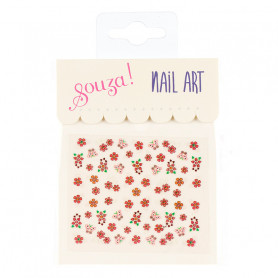 Nail stickers, orange flowers and butterflies - Accessory for girls