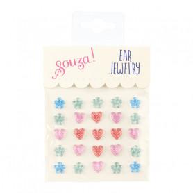Stickers d'oreilles, fleurs et coeurs - Accessoire pour les filles