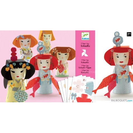 Paper toys Kokeshis Design by Tinou Le Joly Sénoville